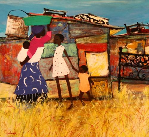 Painting of South African village life by Katherine Ambrose